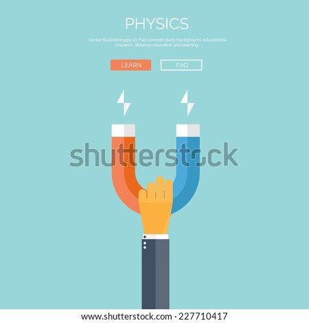 Vector illustration. Flat background with hand and magnet. Physics.Vector illustration. Flat background with hand and - stock vector