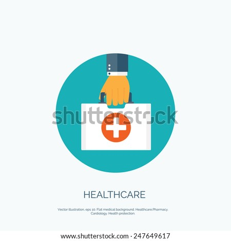 Vector illustration. Flat background with hand and medical bag. Healthcare and first aid kit. Diagnostics. - stock vector
