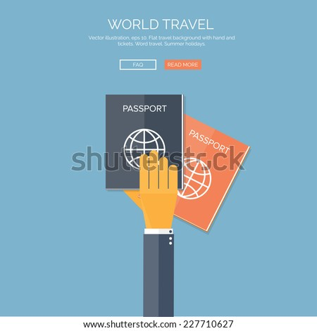 Vector illustration. Flat background with hand and passports. Travel. Summer holidays. - stock vector