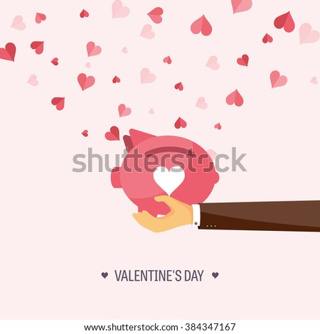 Vector illustration. Flat background with piggy bank. Love, hearts. Valentines day. Be my valentine. 14 february.  Message. - stock vector