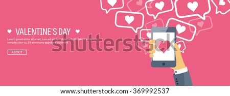 Vector illustration. Flat background with smartphone. Love, hearts. Valentines day. Be my valentine. 14 february.  - stock vector