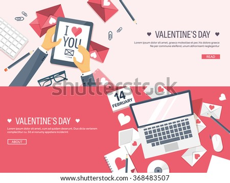 Vector illustration. Flat background with tablet, laptop. Love, hearts. Valentines day. Be my valentine. 14 february.  Message. - stock vector