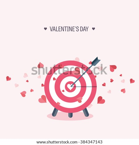 Vector illustration. Flat background with target. Love, hearts. Valentines day. Be my valentine. 14 february.  - stock vector