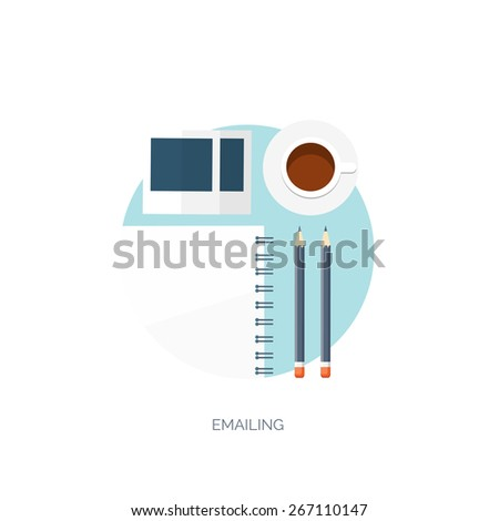 Vector illustration. Flat background. Workplace.  Morning coffee or tea, notepad, photo and pencil. - stock vector