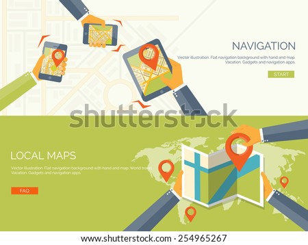 Vector illustration. Flat backgrounds set. Navigation and traveling.  Map pointer and location finding. Web application. - stock vector