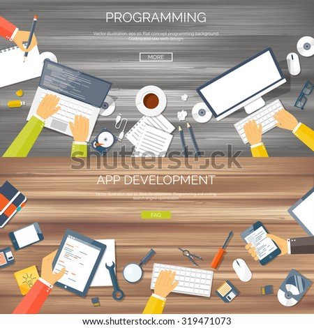 Vector illustration. Flat backgrounds set. Programming and coding online. Web courses. Internet and web design. App development. Wood. - stock vector