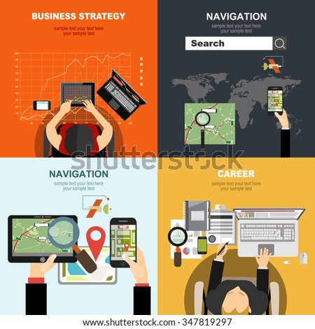 Vector illustration. Flat   business,navigation.Concepts for web banner and printed materials. - stock vector