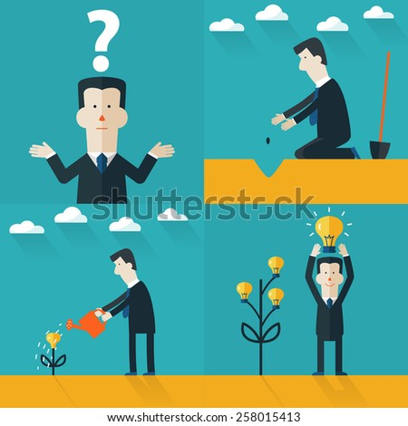 Vector illustration. Flat concept. Project start up with light bulb. Business aims and smart solutions. Teamwork. - stock vector