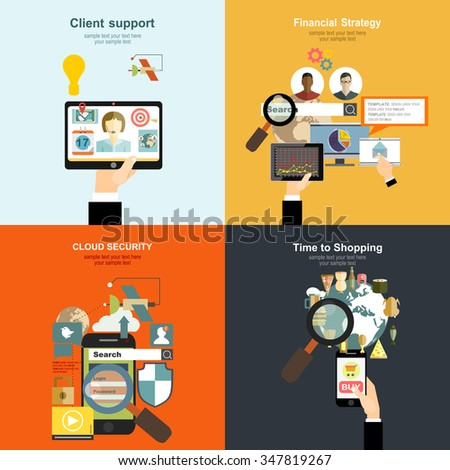 Vector illustration. Flat  concepts for business, finance,time is money,internet security,client support.Concepts for web banners and printed materials. - stock vector