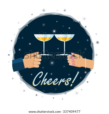 Vector illustration. Flat design illustration of hands toasting with a glass of champagn - stock vector