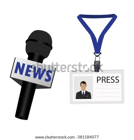 Vector illustration flat design name tag badge template. White plastic lanyard badge with man photo for press and journalist microphone  - stock vector