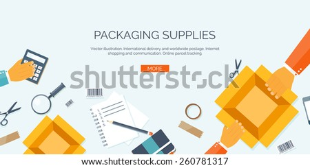 Vector illustration. Flat header. International delivery and worldwide postage. Emailing and online shopping. Envelope and package. - stock vector