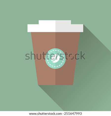 Vector illustration flat icon of Coffee in takeaway cup - stock vector