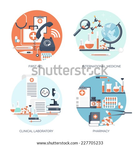 Vector illustration. Flat medical backgrounds set. Medicine. Healthcare and medical research. First aid help. - stock vector