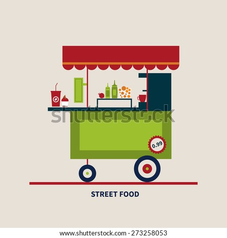 vector illustration flat style street food, banner, concept - stock vector