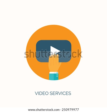 Vector illustration. Flat video hosting. Online cinema and services. - stock vector