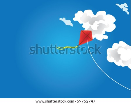Vector illustration flying kite in the clouds - stock vector