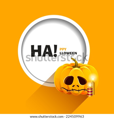 Vector illustration for a happy Halloween party. Unhappy pumpkin for Halloween with candles. Use for brochures, printed materials, banner, greeting, card. - stock vector