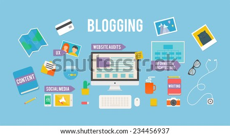 Vector illustration for blog, flat style - stock vector