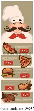 vector illustration for classic american fastfood menu - stock vector