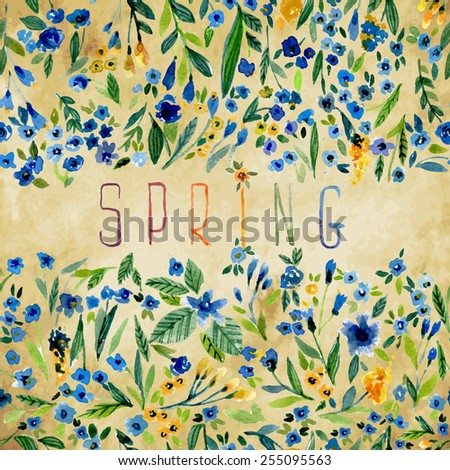 Vector illustration for different occasions. Cute summer and spring card. Floral pattern with watercolor flowers on the vintage background. Isolated forget-me-not. Small blue flowers - stock vector