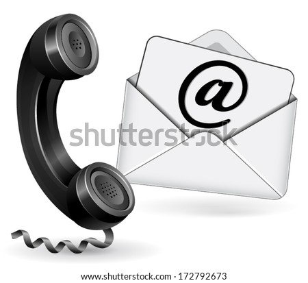 vector illustration for email and phone contact on white background - stock vector