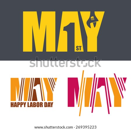 vector illustration for International Labor Day on May 1st, design elements icon label - stock vector