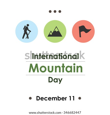 Vector illustration for  International Mountain Day icons of mountains, climber and flag on transparent background - stock vector