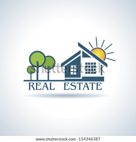 Vector illustration  for Real estate business design with trees and sun.  - stock vector