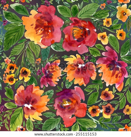 Vector illustration for textile and different occasions. Cute summer and spring background. Floral pattern with watercolor flowers on the blurred background. Isolated  peonies - stock vector