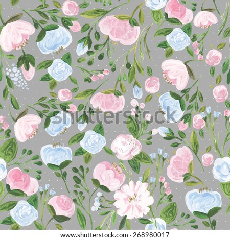 Vector illustration for textile, wallpapers, wedding ,birthday and different holidays. Cute summer and spring background. Floral pattern with acrylic flowers on the grey background. Isolated. - stock vector