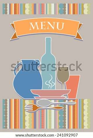 Vector Illustration for the cover of restaurant menu. In the central design: jug, bottle, glasses, plates and cutlery. - stock vector
