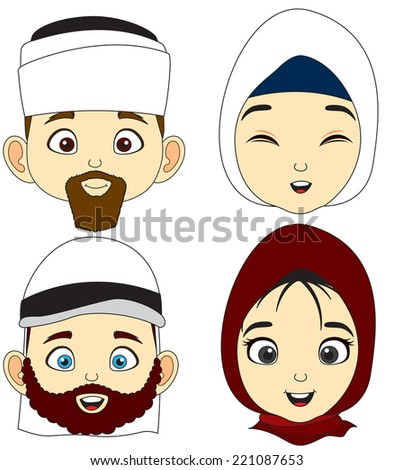 Vector illustration four Muslim men and women faces. - stock vector