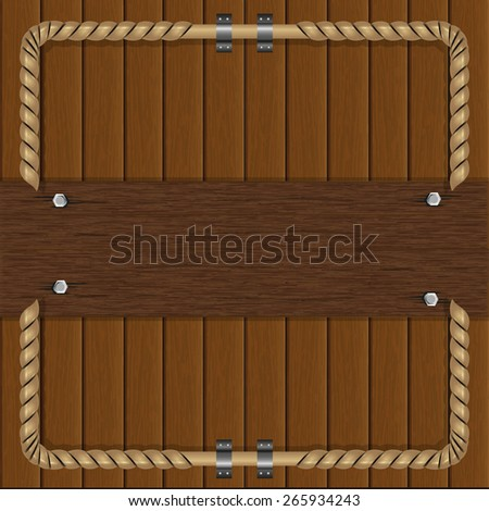 vector illustration frame of boards with a metal frame - stock vector