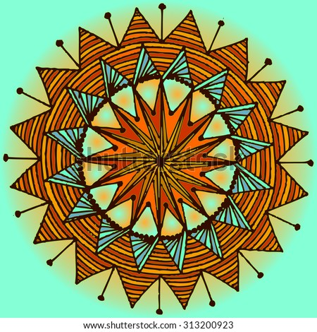 Vector illustration, freehand mandala symmetry in vivid colors, card concept. - stock vector