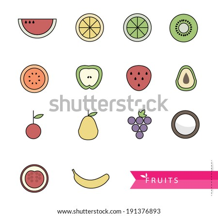 vector illustration Fruit of collection icon - stock vector