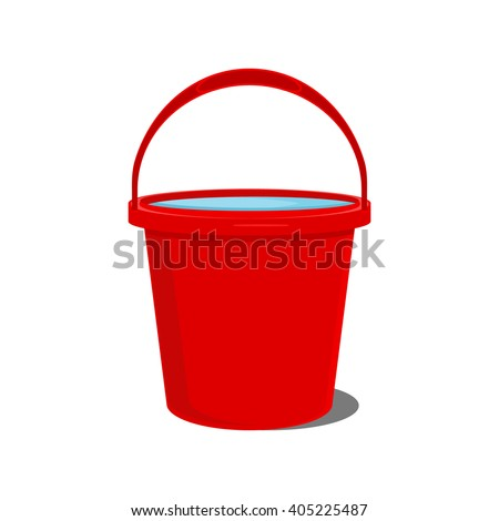 Vector illustration full of water red bucket icon, sign or symbols for app. Bucket for garden - stock vector