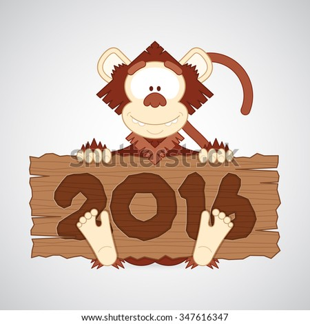 """Vector illustration. Funny cartoon monkey holding a wood plate of """"2016"""". Creative and modern character for advertising, poster, banner, web and flyer. Merry Christmas and Happy New Year! - stock vector"""
