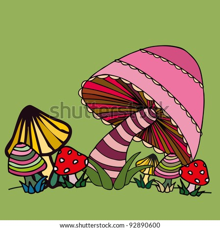Vector illustration, funny mushrooms, card concept. - stock vector