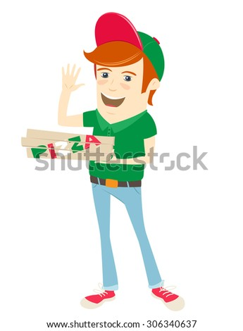Vector illustration Funny pizza delivery boy wearing uniform, holding boxes and waving - stock vector