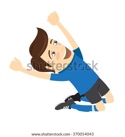 Vector illustration Funny soccer football player wearing blue t-shirt enjoying the victory on his knees - stock vector