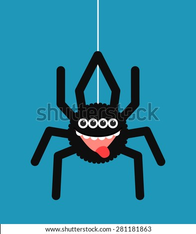 Vector illustration - funny spider cartoon for you design - stock vector