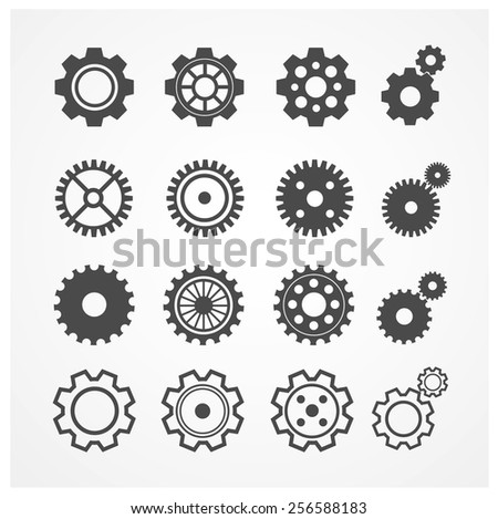 Vector illustration gear icon set. Gearwheel mechanism collection. Gear Concept. Black and white - stock vector