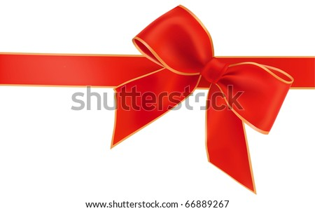 Vector illustration. Gift red bow with ribbons. - stock vector