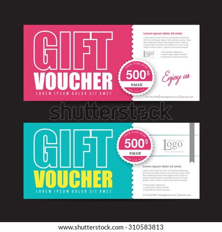 Vector illustration,Gift voucher template with colorful pattern,cute gift voucher certificate coupon design template - stock vector