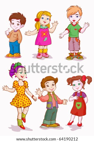 vector illustration, girls and boys, cartoon concept, white background. - stock vector