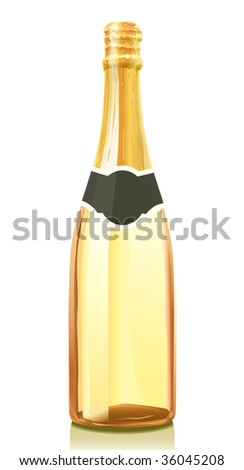 Vector illustration glass bottle with gold Champagne wine (serie of images) - stock vector