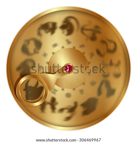 vector illustration gold disc with signs of the zodiac, Taurus separately allocated. Isolated object to any suitable illustration. - stock vector