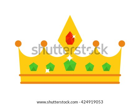 Vector illustration golden crown with red gemstone isolated on white. Golden crown icon and success authority golden crown. Golden crown majestic decoration and kingdom golden crown jewelry. - stock vector