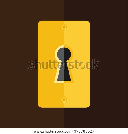 Vector illustration golden keyhole in wooden door. Key hole icon - stock vector